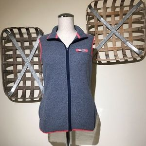 Colombia PFG Gray Pink Trim Fleece ZIP Up Vest